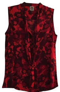Anne Klein Top Red tones and black.