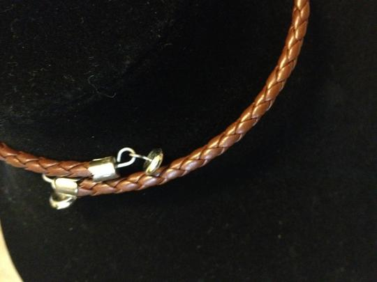 Other Set of (2) Necklaces - metal and faux leather