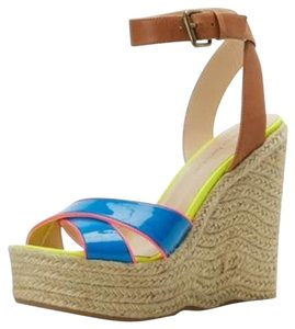 Enzo Angiolini Womens Nomas Sandals Cream High Heels Leather Faux Leather Size 8.5 New Neon blue yellow pink beige Wedges
