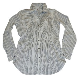 CAbi Button Down Shirt White and Blue Stripe