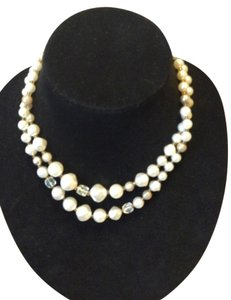 Faux pearl and bead necklace