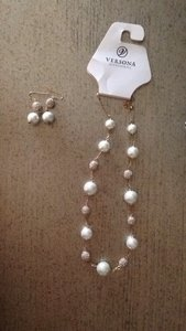 Versona Pearl And Pave Necklace And Earring Set