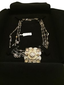 Chanel CHANEL NWT GOLD AND SILVERTONES WITH CLEAR CRYSTALS & PENDANT NECKLACE