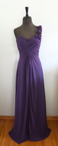 Allure Bridals Eggplant Polyester - Chiffon Style Number 1267 Formal Bridesmaid/Mob Dress Size 12 (L)