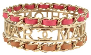 Chanel MAKE FASHION NOT WAR BRACELET 2015 PINK LEATHER GOLD CHAIN CUFF BANGLE