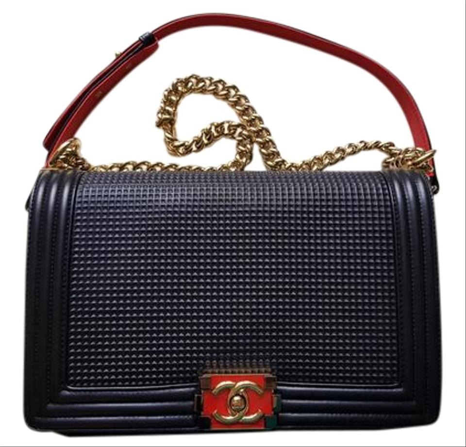b447ffb6e5a851 Chanel Boy Le Cube In New Medium Size Navy Embossed Lambskin Leather ...