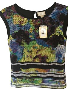 ECI New York Sleeveless Floral Stretchy Top Multi teal yellow black floral/stripe