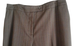 Coldwater Creek Classic Trouser Pants Brown herribone with blue & brown stripes