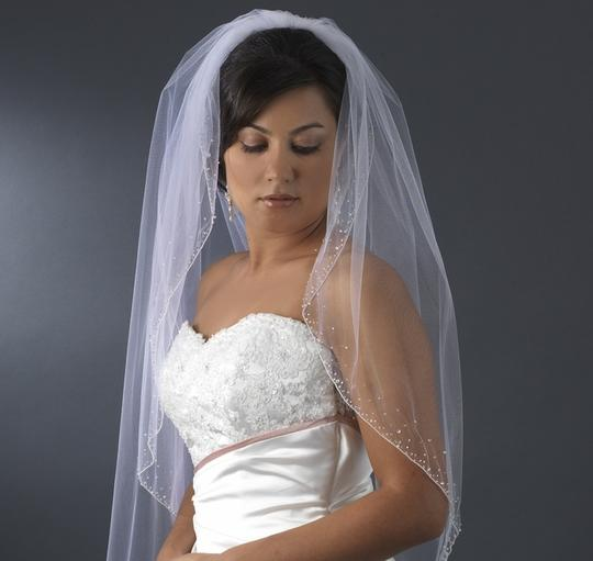 Elegance by Carbonneau Ivory Long Beaded Cathedral Length Bridal Veil