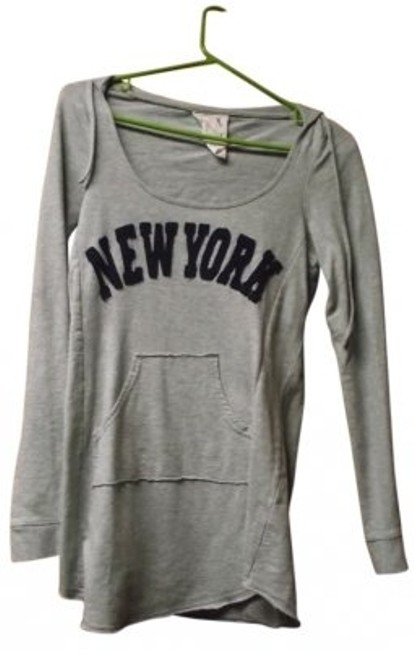 Item - Long Sleeve Hoodie Heather Gray with Navy Blue Writing Sweater