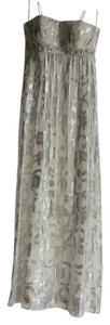 Aqua Dresses Strapless Metallic Silver Empire Waist Silk Dress