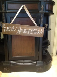 "Nutmeg Wood with Off White Writting with Beige Ribbon Ring Bearer Sign ""Here She Comes"""