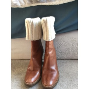 Michael Kors Brown leather , and white all around top Boots