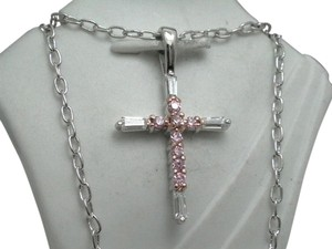 Other New in Gift Box Gorgeous AAA Quality Cubic Zirconia & Pink Topaz Platinum over Brass Cross Necklace