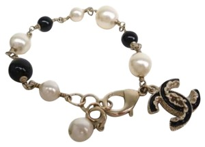 Chanel Chanel Gold Tone Chain Link Pearl Black Bead CC Charm Bracelet In Box