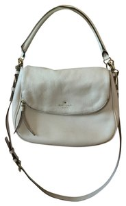 Kate Spade Leather Front Flap Cross Body Strap Satchel in Winter White