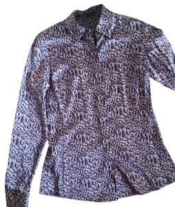 Ann Taylor Stretchy Button Down Shirt black/white/purple