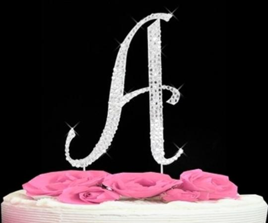 Silver Rhinestone A Cake Toppers