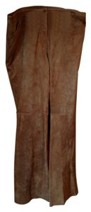 Covington Leather Boot Cut Pants Tan leather