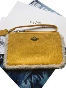 Coach Leather Wristlet in Banana Yellow / Natural
