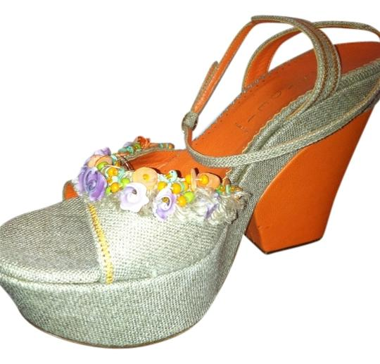 Casadei Feminine Ankle Strap Flowers Greatprice Spring Girlie New Sexandthecity Orange and Tan Platforms