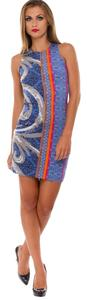 Anallili short dress Blue, Orange, Black and Grey on Tradesy