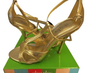 Charles by Charles David Metallic Snakeskin Gold Sandals