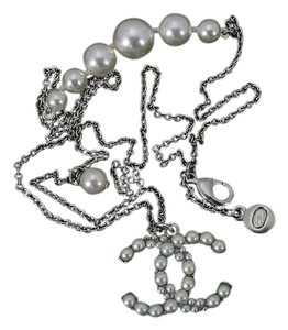 Chanel Chanel Pearl Necklace Pendant A14 P Silver Chain with Chanel Box