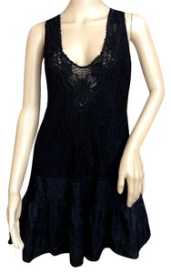 Free People short dress Black Crochet Silk Lbd Little Boho Hippie on Tradesy