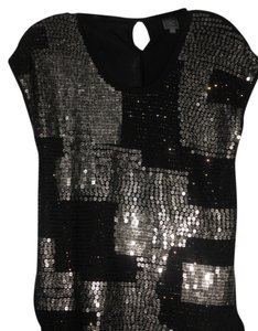 Twill Twenty Two Top Black with grey sequins