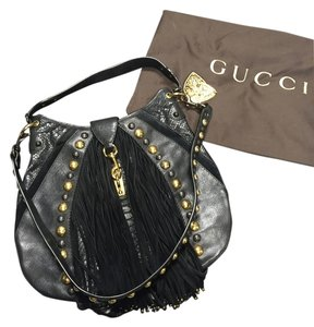 Gucci Studded Fringe Snakeskin Crossbody Shoulder Bag