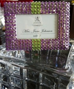 Set Of (25) 2 X 3 Purple And Green Rhinestone Covered Escort Frame