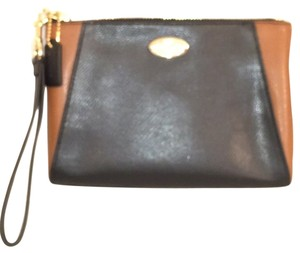 Coach Leather Wristlet New Nwt Black Brown Clutch