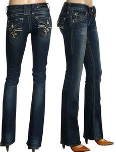 Rock Revival Dark Rinse Embellished Straight Leg Jeans-Dark Rinse