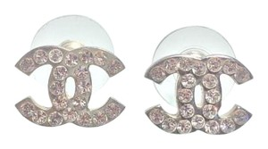 Chanel Authentic CHANEL Silver CC Earrings Studs with Swarovski Crystals&Box