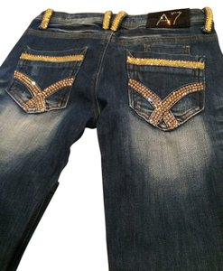 A7 Swaroski Crysal Boot Cut Jeans-Medium Wash