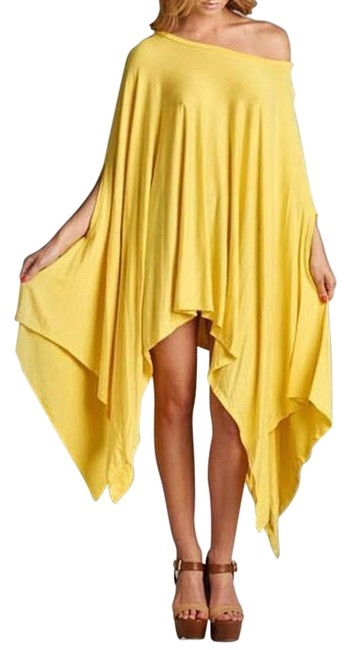 Item - Yellow Free Next Day Shipping | Batwing Dress Blouse Or Poncho/Cape Size 10 (M)