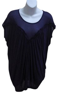 French Connection Draped Shirred Tunic Top Blue