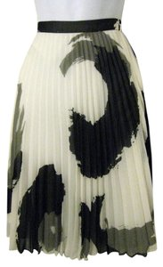 Banana Republic Silk Chiffon Pleated Full Skirt Off-White - Gray - Black