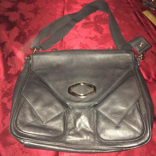 Alexis Hudson Leather Stylish Grey and SIlver Messenger Bag