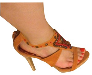 Nine West Orange/Multicolor Platforms