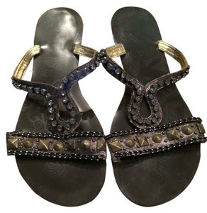 BKE Slip Ons Buckle Studded Brown Sandals