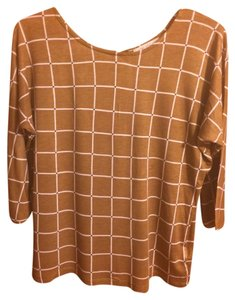 Forever 21 Casual Top Tan/Black/White