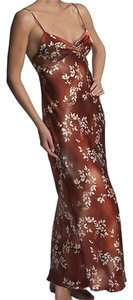 Copper Maxi Dress by Natori Print Silk Gown Sequin Floral
