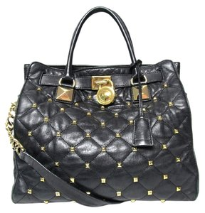 Michael Kors Hamilton Leather Studded Tote in Black