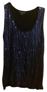 Forever 21 Sparkle Sequin Top Blue Sequins