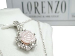 ColoreSG by LORENZO ColoreSG by LORENZO 925 Sterling Silver 14k White Gold Pink Rose Shell Necklace