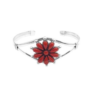 Coral Red Birthday Gift Mom Sophisticate Gift Sterling 925 Floral Bracelet