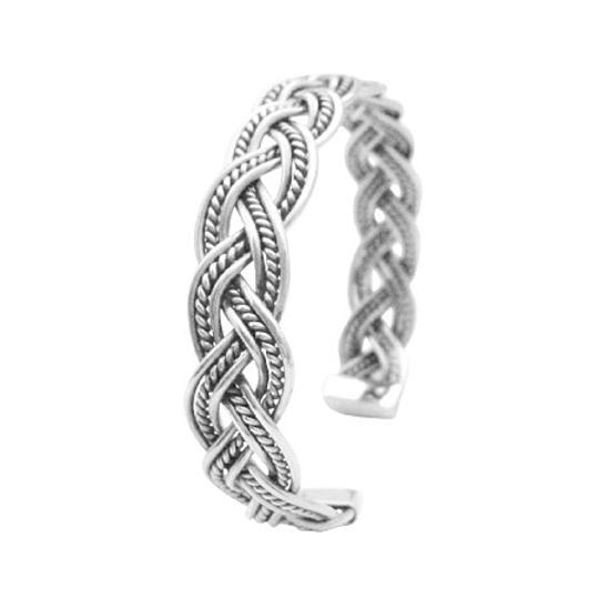 Silver Solid Sterling Twisted Wire Cuff Gift To Men Or Women Bracelet