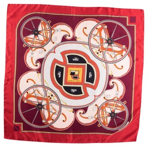 Hermès Hermes SILK SCARF WITH 'WASHINGTON'S CARRIAGE' MOTIF SCARVES WRAP RED